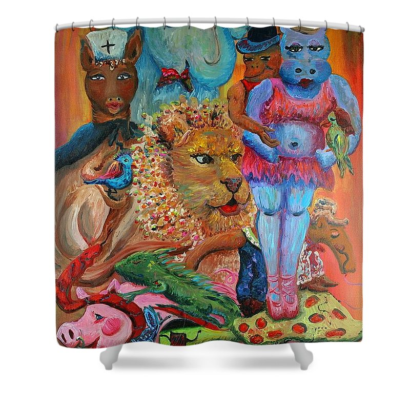 Diversity Shower Curtain featuring the painting Diversity by Nadine Rippelmeyer