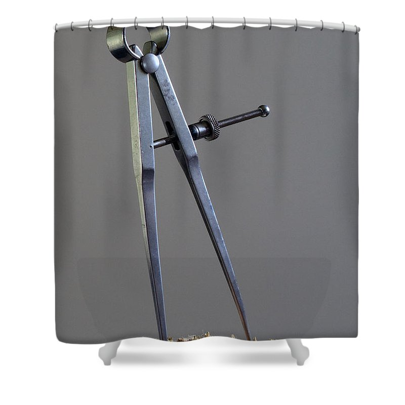 Divider; Divide; Measure; Dimension; Scale; Compass; Draft; Drafting; Draw; Drawing; Paper; Plans; B Shower Curtain featuring the photograph Divider by Allan Hughes