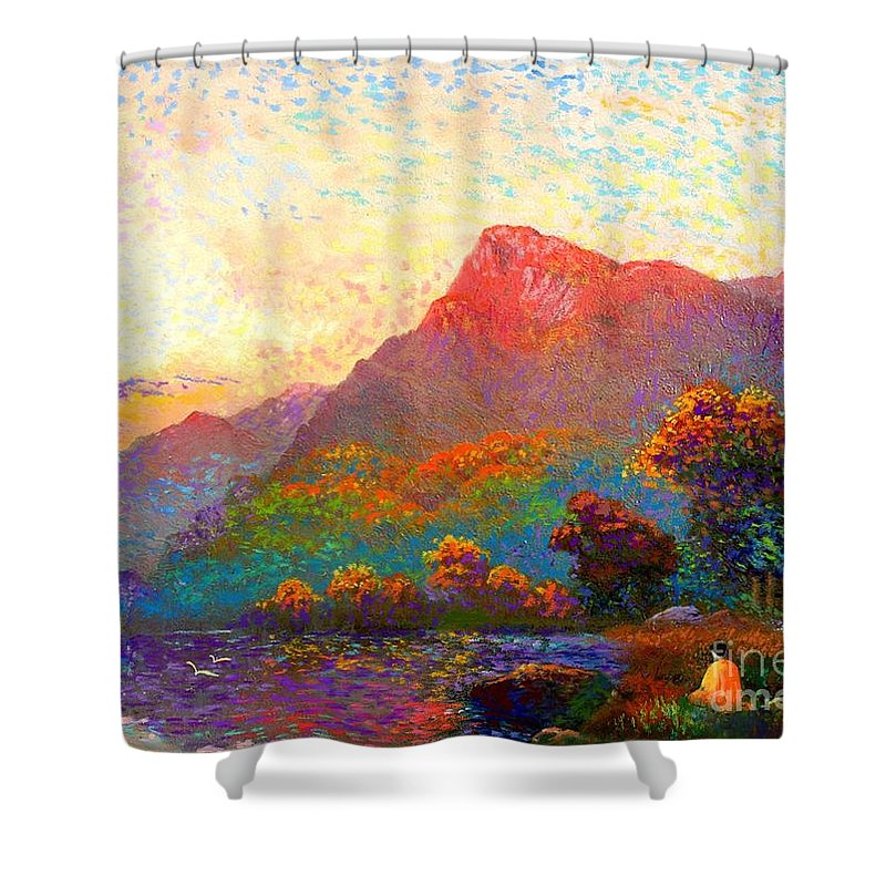 Meditation Shower Curtain featuring the painting Buddha Meditation, Divine Light by Jane Small