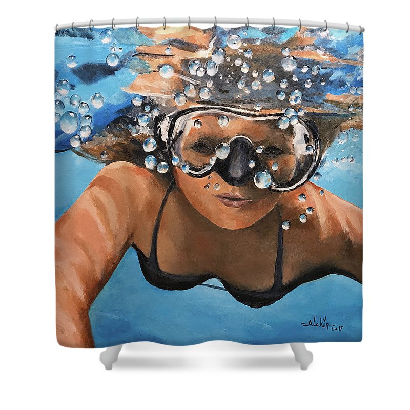 Diving Shower Curtain featuring the painting Diving by Alan Lakin