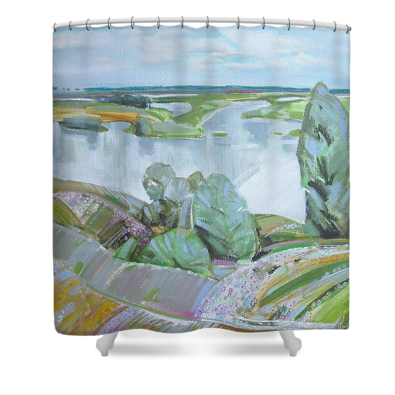 Landscape Shower Curtain featuring the painting Dnepro River by Sergey Ignatenko