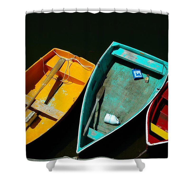 Landscape Nautical Row Boat New England Rockport Shower Curtain featuring the photograph Dnre0603 by Henry Butz