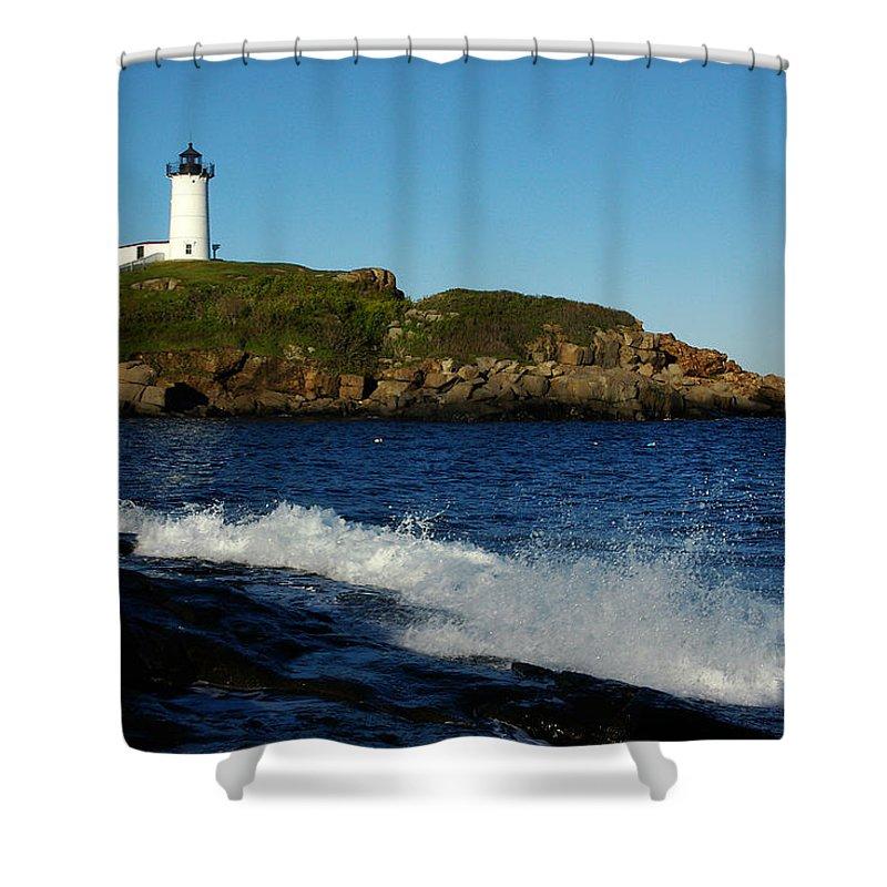 Landscape Lighthouse Nautical New England Cape Neddick Nubble Light Shower Curtain featuring the photograph Dnre0608 by Henry Butz