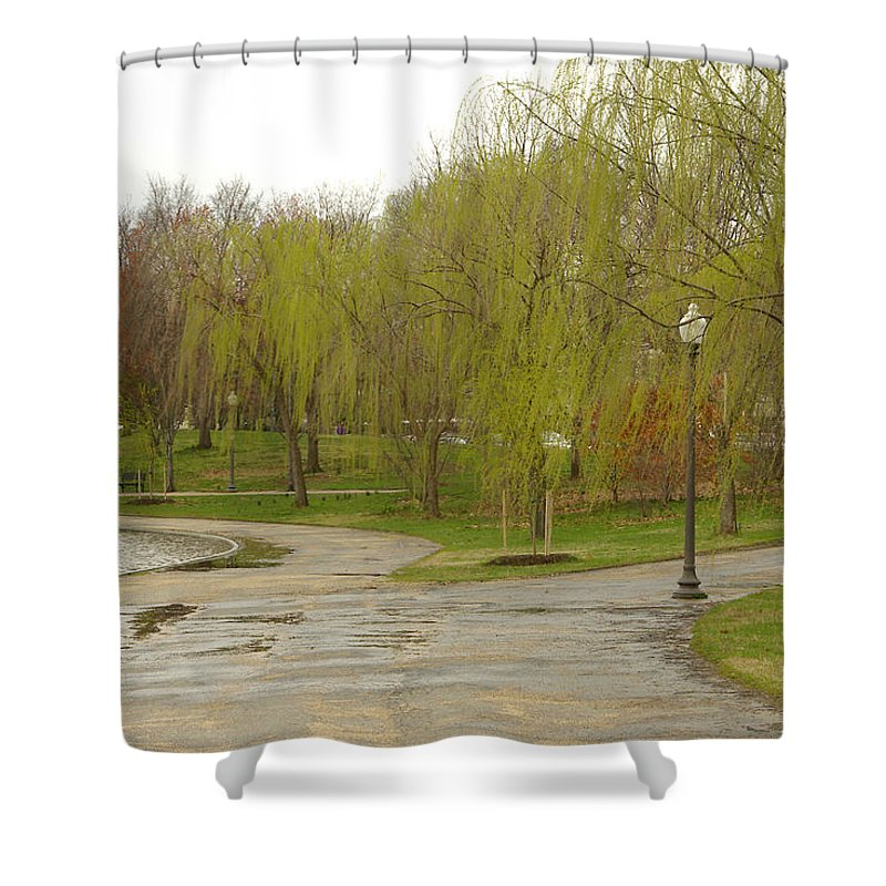 Landscape Park Washington Willow Tree Lake Shower Curtain featuring the photograph Dnrf0401 by Henry Butz