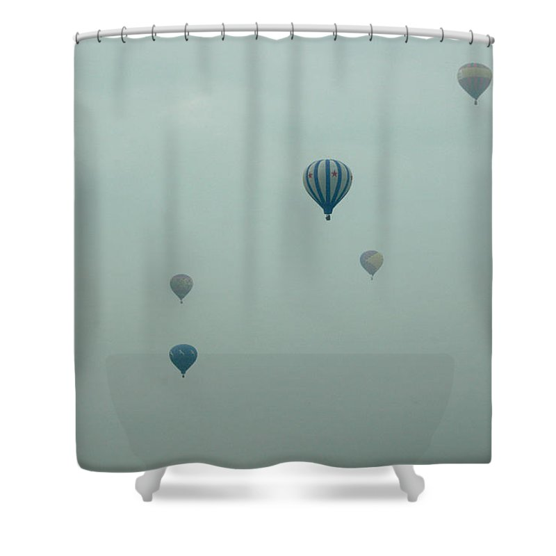 Adirondack Balloon Festival Mist Flight Shower Curtain featuring the photograph Dnrg0908 by Henry Butz