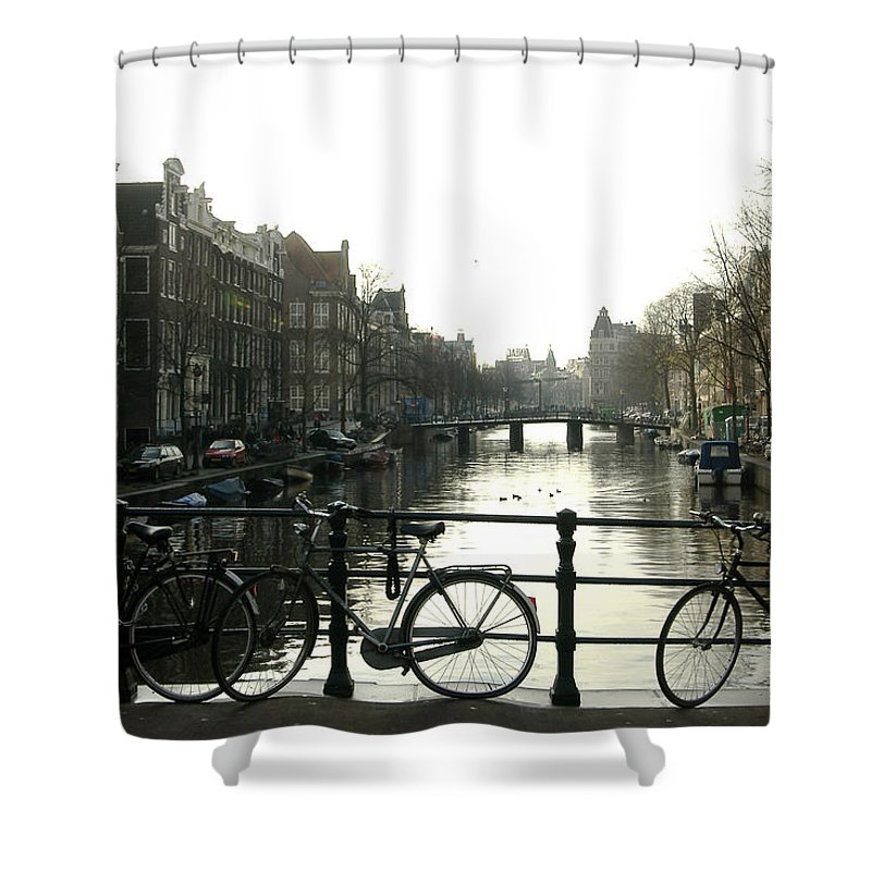 Landscape Amsterdam Red Light District Shower Curtain featuring the photograph Dnrh1103 by Henry Butz
