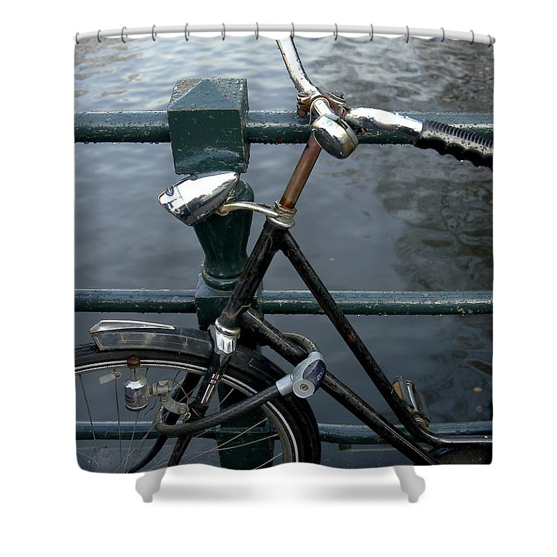 Landscape Amsterdam Red Light District Bicycle Shower Curtain featuring the photograph Dnrh1104 by Henry Butz