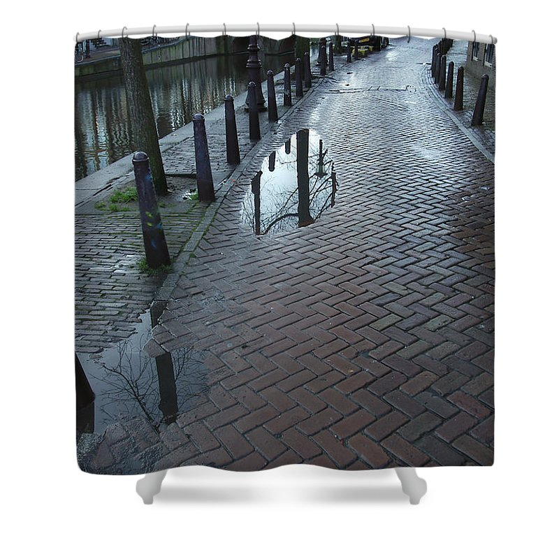 Landscape Amsterdam Red Light District Shower Curtain featuring the photograph Dnrh1109 by Henry Butz
