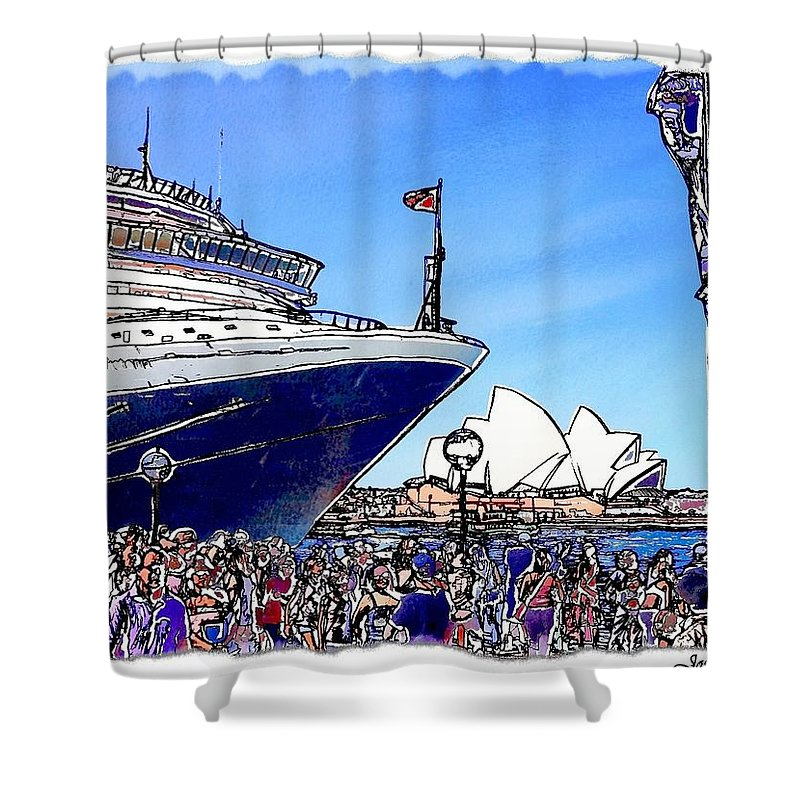 Ship Shower Curtain featuring the photograph Do-00100 A Ship And Opera House by Digital Oil