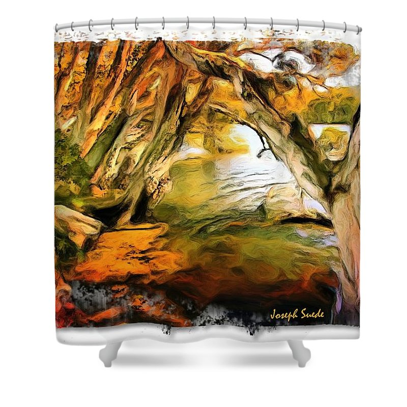 Trees Shower Curtain featuring the photograph Do-00268 Trees On Water In Avoca Estuary by Digital Oil