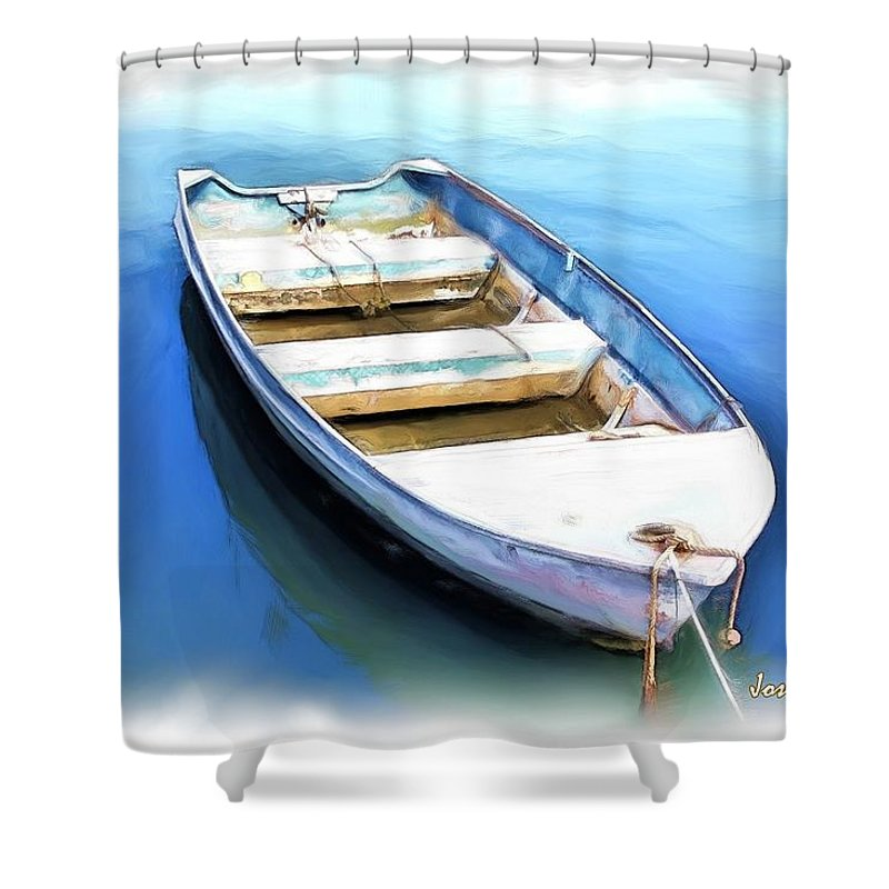 Boat Shower Curtain featuring the photograph Do-00269 Boat In Killcare by Digital Oil