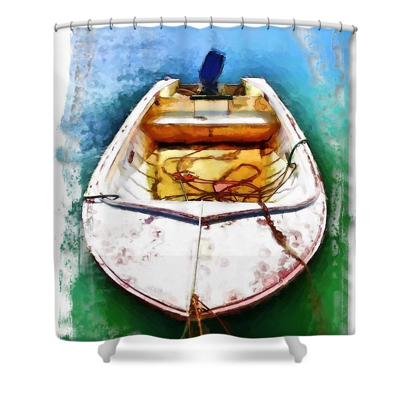 Boat Shower Curtain featuring the photograph Do-00277 Boat In Hardys Bay by Digital Oil