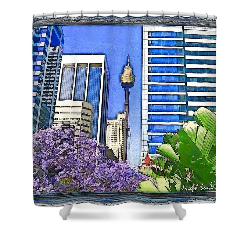 Sydney Centre Tower Shower Curtain featuring the photograph Do-00285 Sydney Centre Tower In Spring by Digital Oil