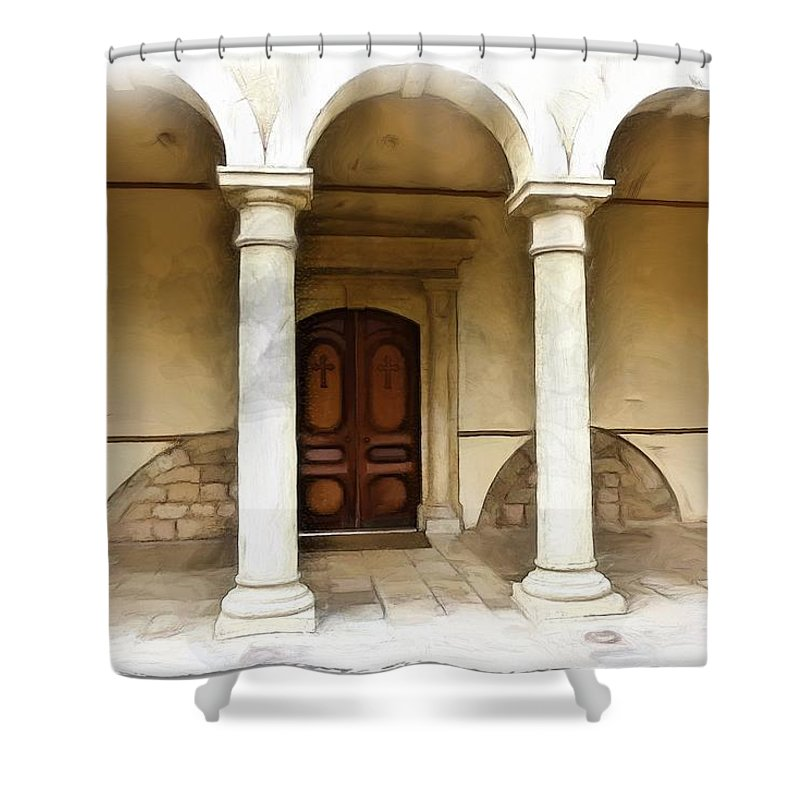 St George Shower Curtain featuring the photograph Do-00360 St George Orthodox Church by Digital Oil