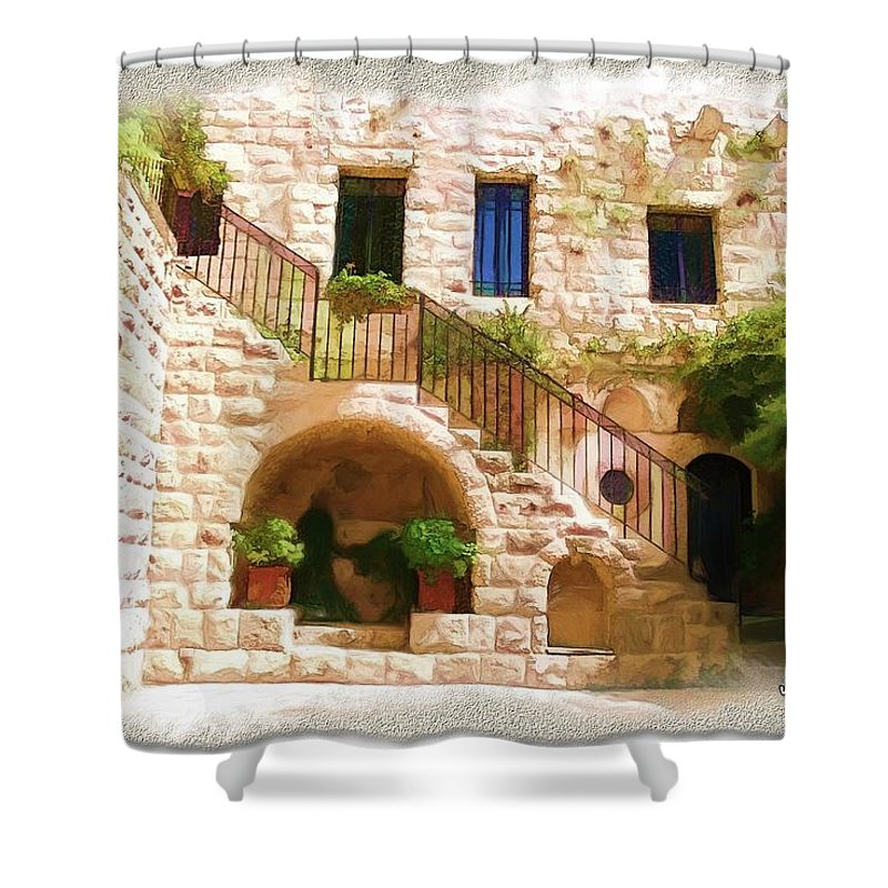 Old Shower Curtain featuring the photograph Do-00374 Old Building In Deir El-kamar by Digital Oil