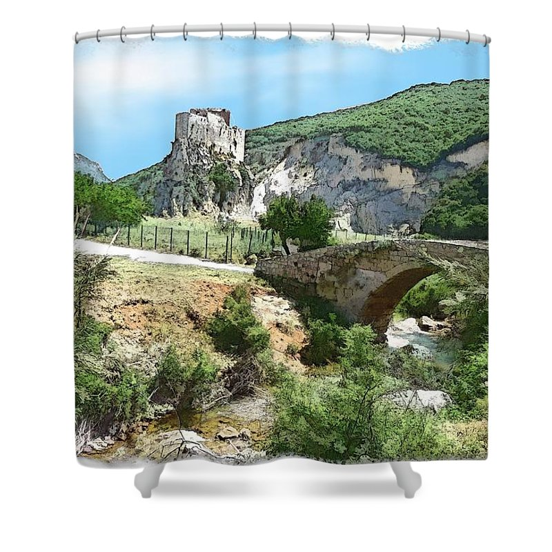 Mussaylaha Shower Curtain featuring the photograph Do-00402 Mussaylaha Fort At Nahr El-jawz by Digital Oil