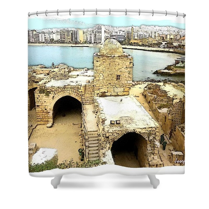 Citadel Shower Curtain featuring the photograph Do-00428 Citadel Looking On Sidon by Digital Oil