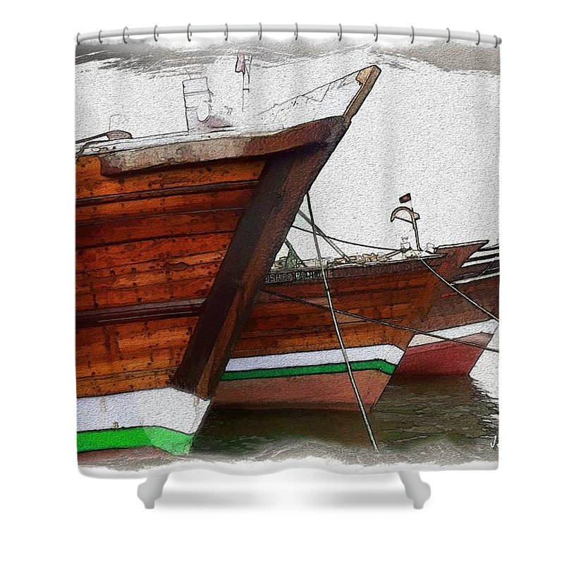 Boat Shower Curtain featuring the photograph Do-00476 Abra Dhow Boats by Digital Oil