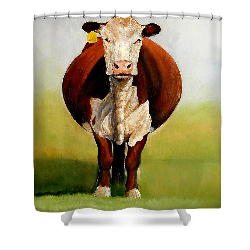 Hereford Shower Curtain featuring the painting Do I Look Fat by Toni Grote
