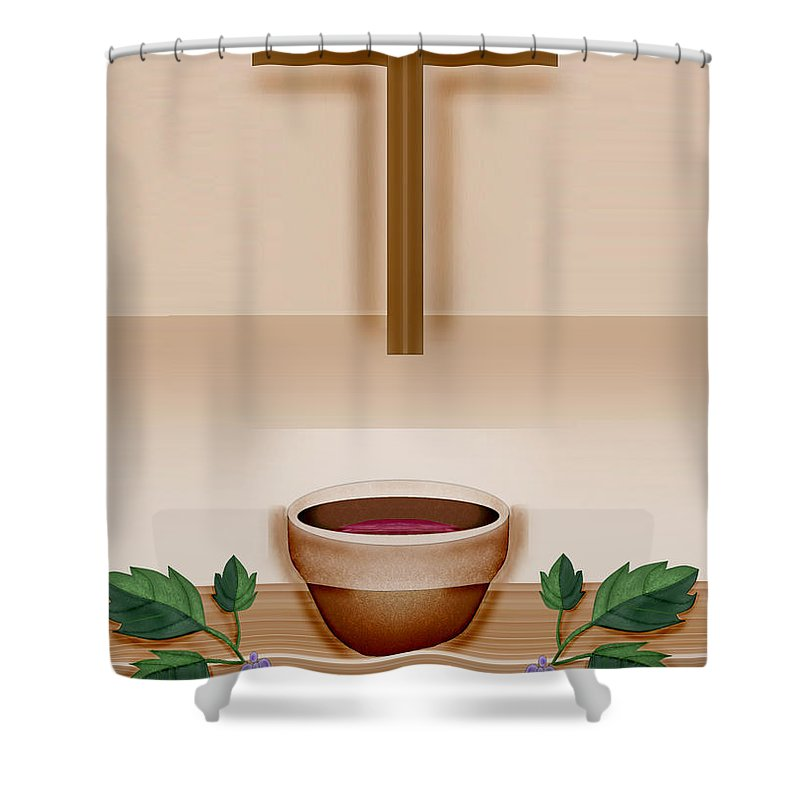 Holy Communion Shower Curtain featuring the painting Do This In Remembrance Of Me by Anne Norskog