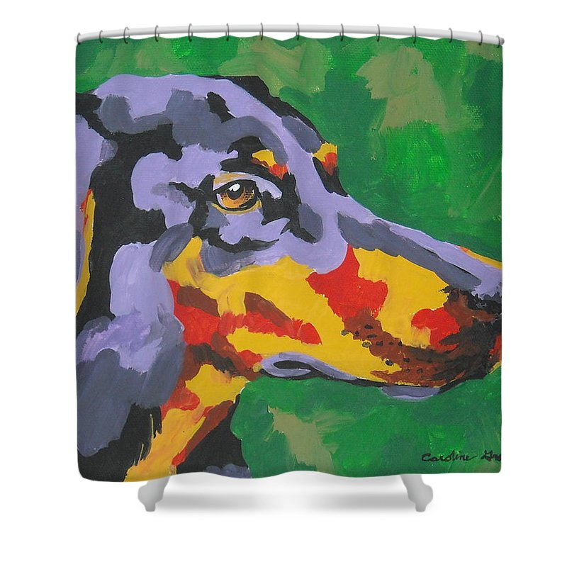 Dog Shower Curtain featuring the painting Doberman by Caroline Davis