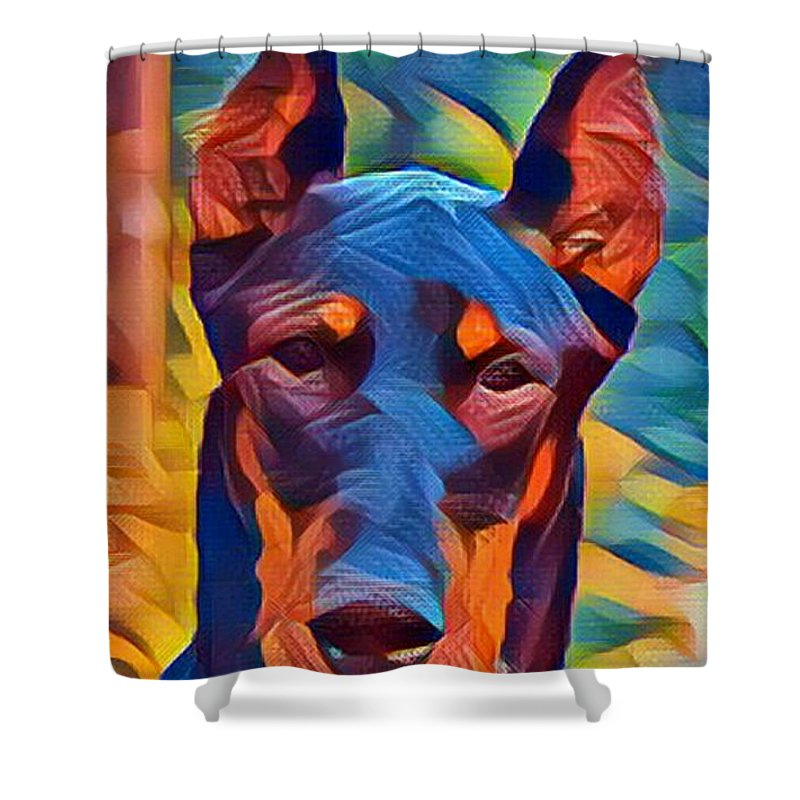 Doberman Shower Curtain featuring the digital art Doberman I C by Dreana Stenz