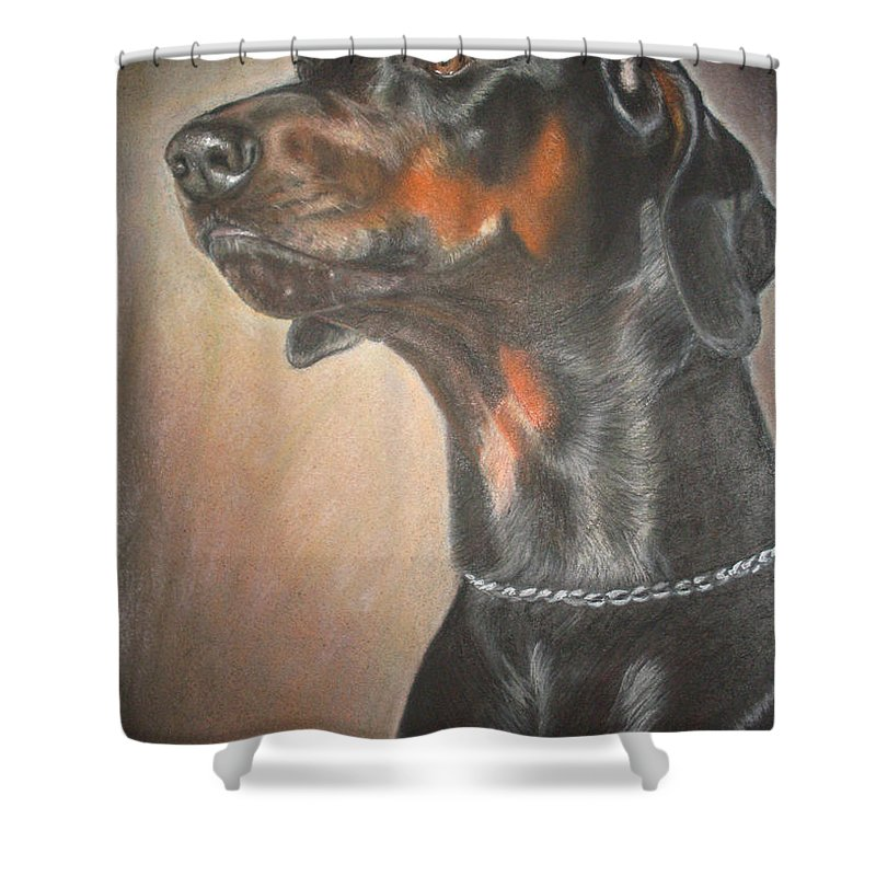 Dog Shower Curtain featuring the painting Doberman by Irisha Golovnina