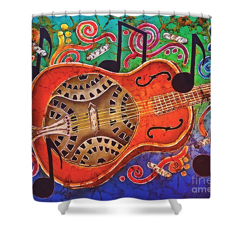 Dobro Shower Curtain featuring the tapestry - textile Dobro - Slide Guitar by Sue Duda