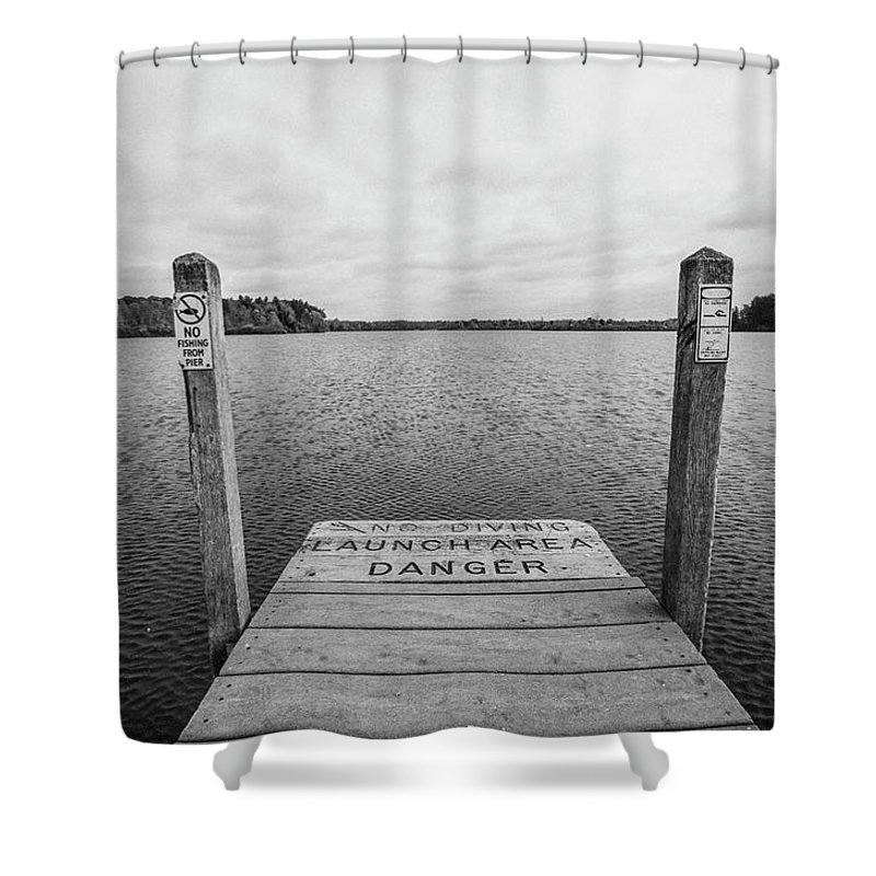 35mm Film Shower Curtain featuring the photograph Dock No Diving by John McGraw