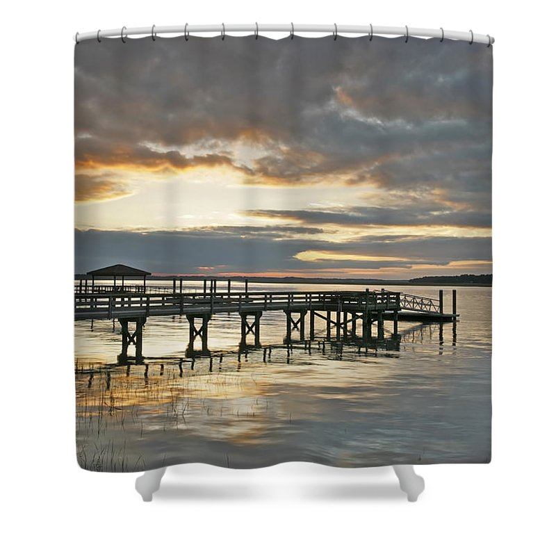 Sunset Shower Curtain featuring the photograph Dock Reflections by Phill Doherty