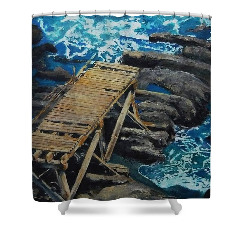 Dock Shower Curtain featuring the painting Dock by Travis Day