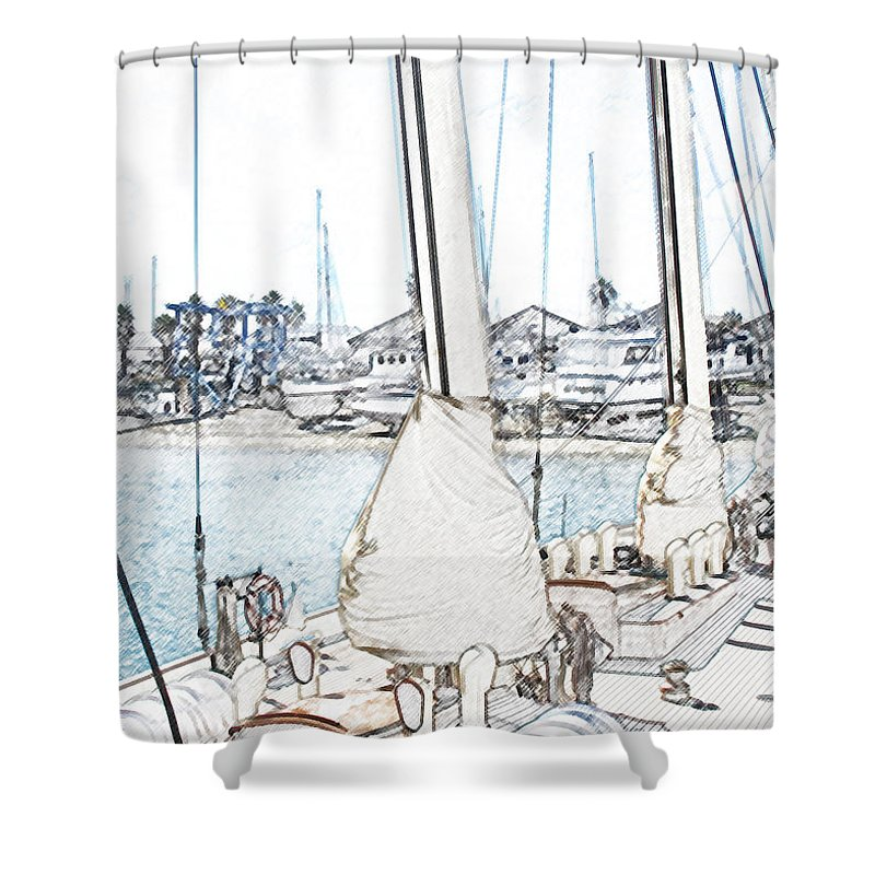 Bermuda Shower Curtain featuring the photograph Docked by Ian MacDonald