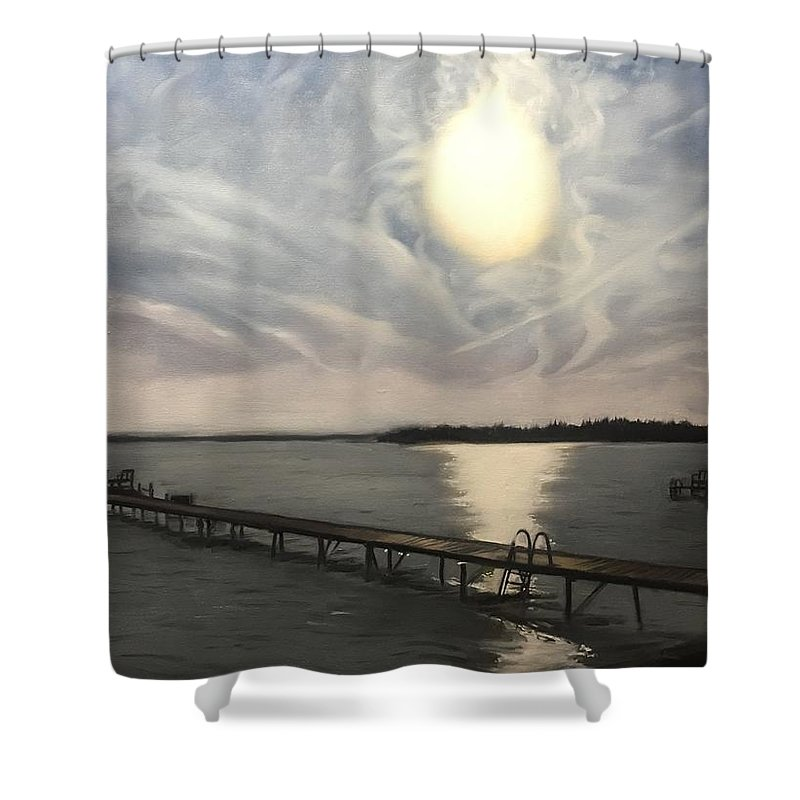 Dockside Shower Curtain featuring the painting Dockside by Jodie Estes
