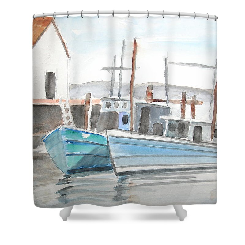 Landscape Shower Curtain featuring the painting Dockside by Scott Easom