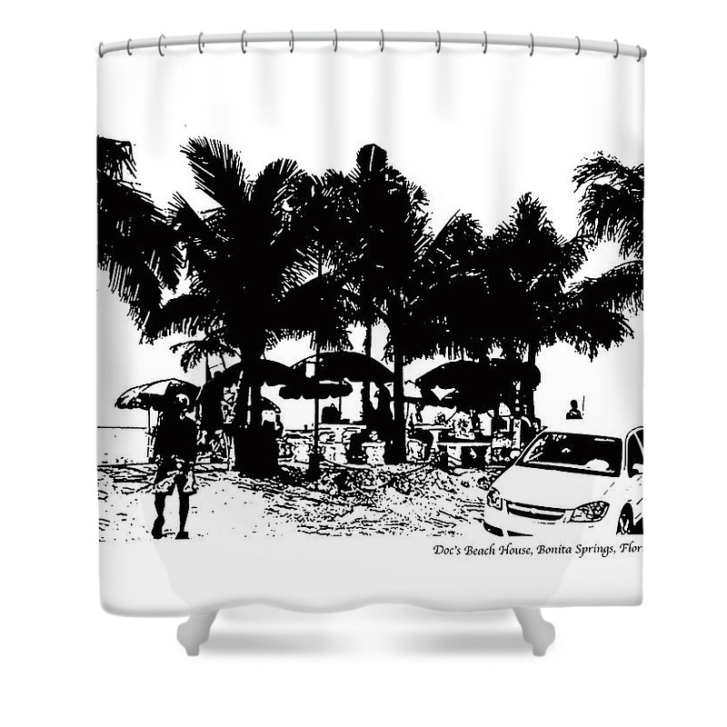 Beach Shower Curtain featuring the photograph Doc's Beach House by Laurie Paci