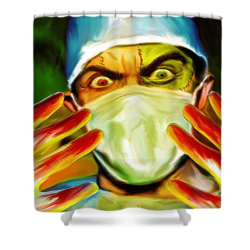 Doctor Frankenstein Shower Curtain Featuring The Painting Mark Spears Monsters By
