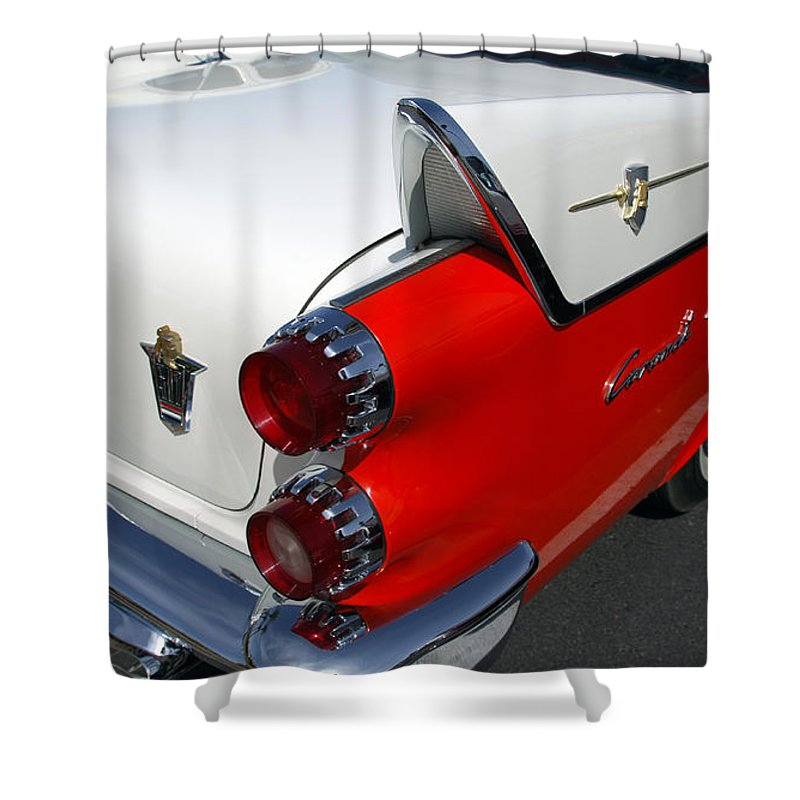 Car Shower Curtain featuring the photograph Dodge Coronet Tail Fin by Jill Reger