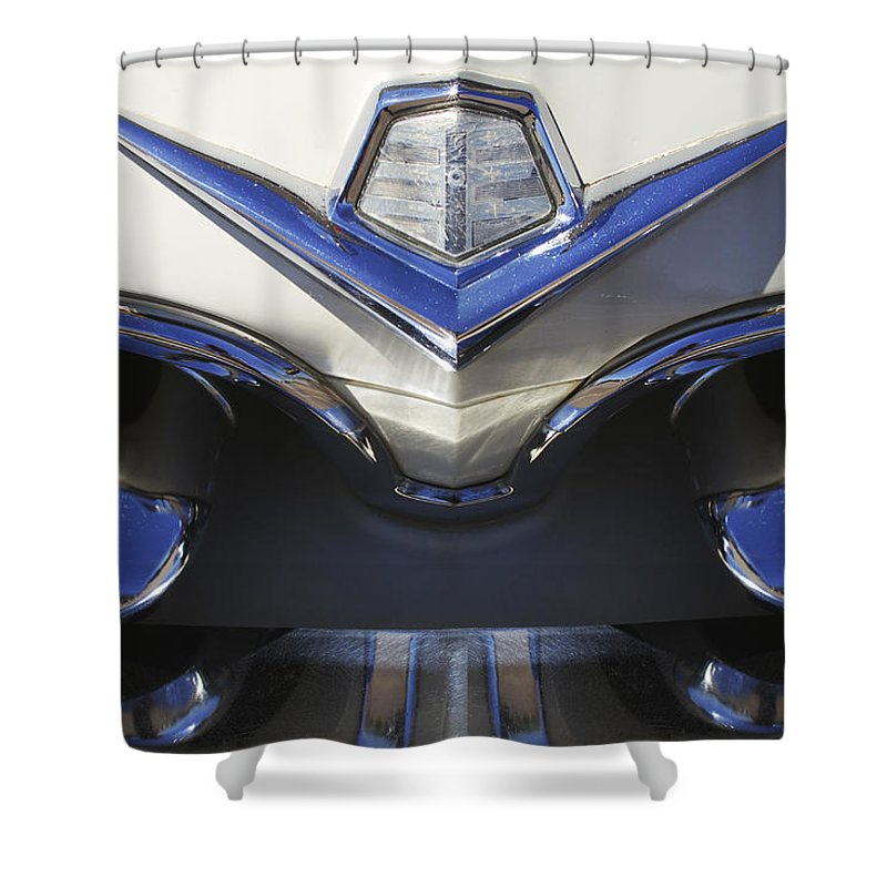 Dodge Custom Royal V8 Shower Curtain featuring the photograph Dodge Custom Royal V8 Hood Ornament by Jill Reger