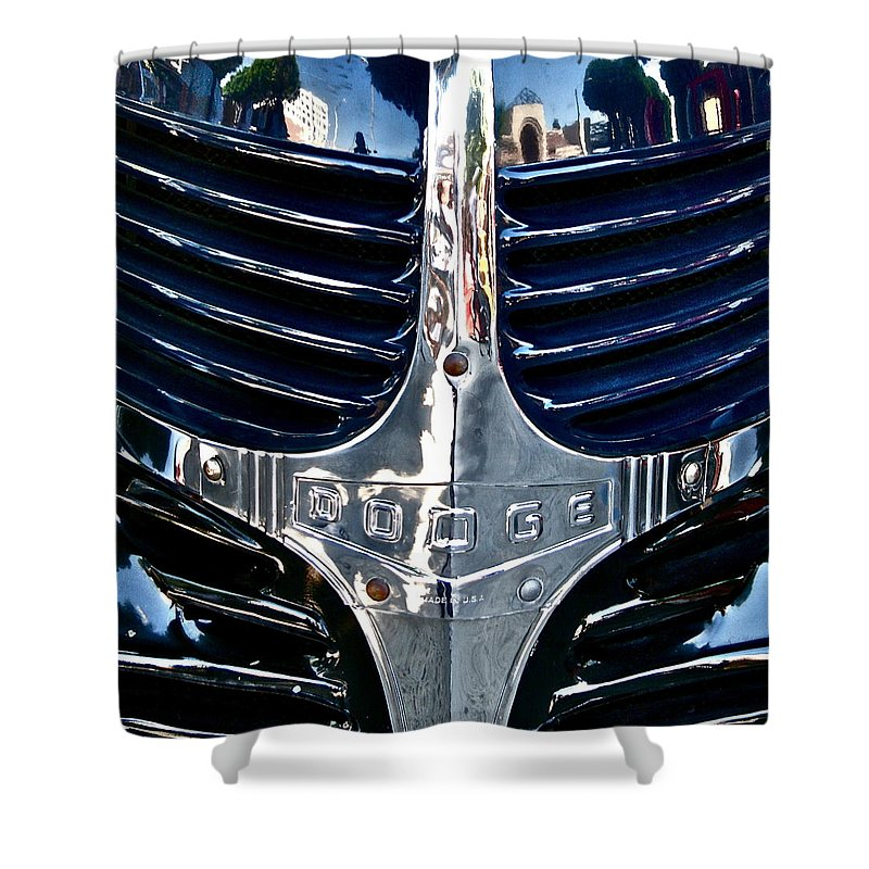 Photograph Shower Curtain featuring the photograph Dodge Hearse by Gwyn Newcombe