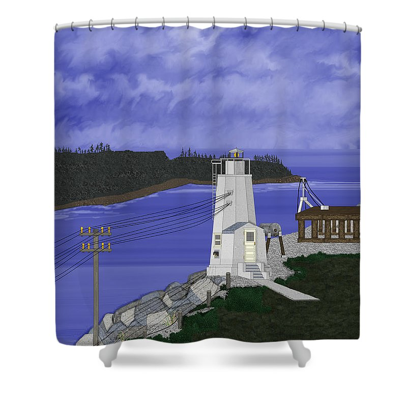 Lighthouse Shower Curtain featuring the painting Dofflemeyer Point Lighthouse At Boston Harbor by Anne Norskog