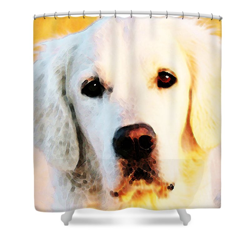 Golden Retriever Shower Curtain featuring the painting Dog Art - Golden Moments by Sharon Cummings