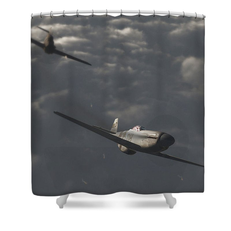 Ww2 Shower Curtain featuring the digital art Dog Fight by Richard Rizzo