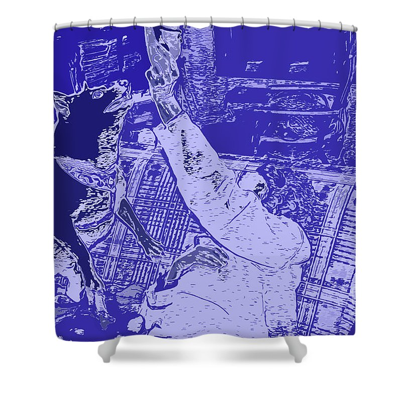 Doge Jumps For Treat 2 Shower Curtain featuring the digital art Doge Jumps For Treat 2 by Chris Taggart