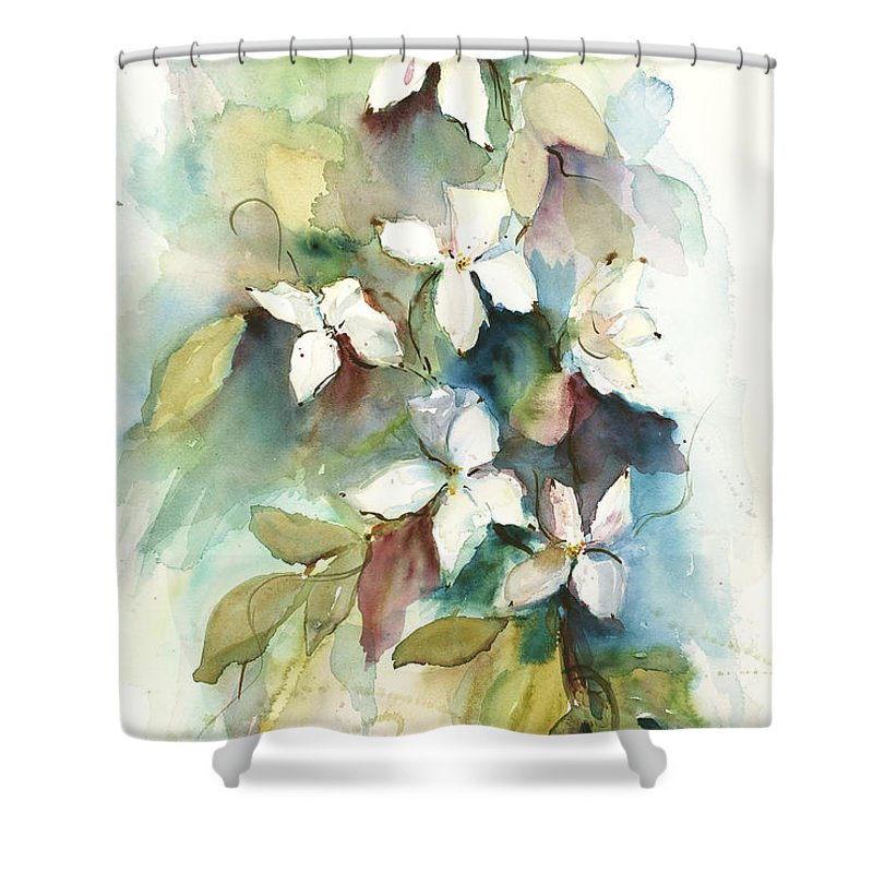 Trees Shower Curtain featuring the painting Dogwood Branch by Sandra Strohschein