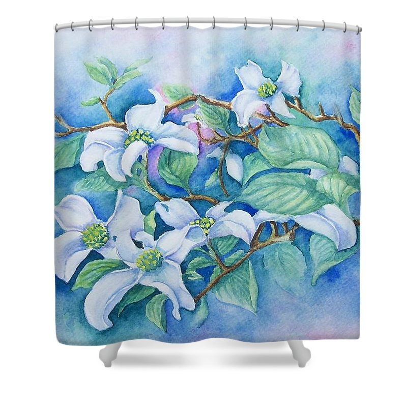 Floral Shower Curtain featuring the painting Dogwood by Conni Reinecke