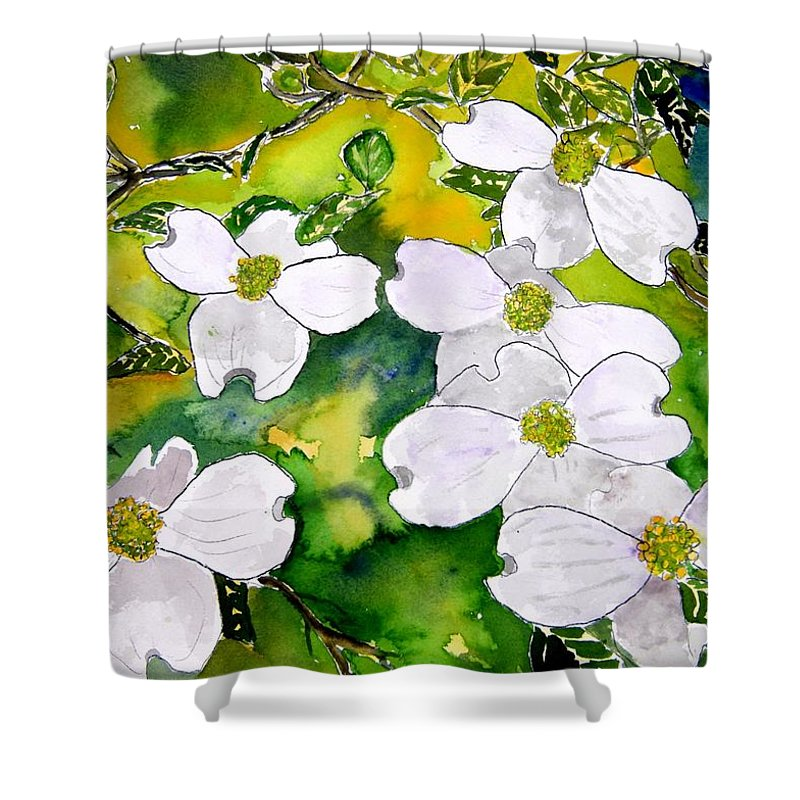 Dogwood Shower Curtain featuring the painting Dogwood Tree Flowers by Derek Mccrea