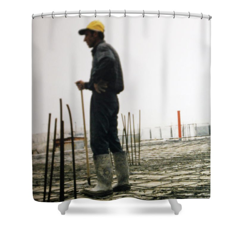 Man Shower Curtain featuring the photograph Doing The Calculations by Munir Alawi