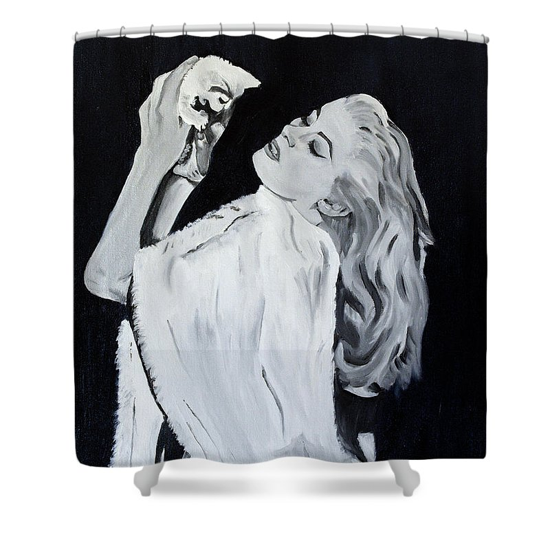 Anita Ekberg Shower Curtain featuring the painting Dolce Kitten by Mary Capriole