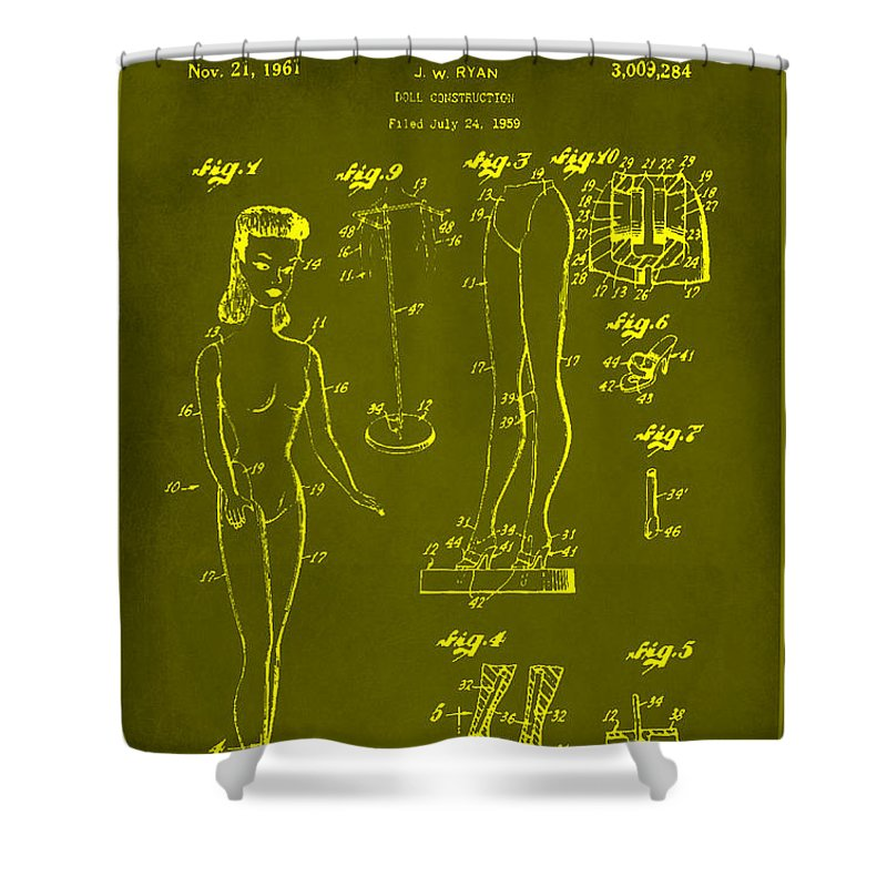 Patent Shower Curtain featuring the mixed media Doll Construction Patent Drawing 1d by Brian Reaves