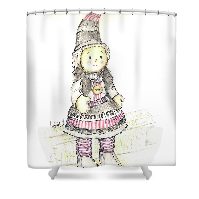 Doll Shower Curtain featuring the drawing Doll by Yana Sadykova